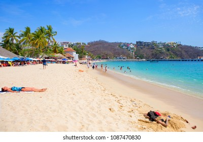 Huatulco, Mexico, 03/06/2016, The Beaches Of Huatulco. Huatulco Bay is a picturesque area with amazing mountains, slopes, valleys and abundant vegetation, magnificent beaches.