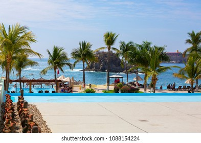 Huatulco, Mexico, 03/06/2016 , The Beaches Of Huatulco. Huatulco Bay is a picturesque area with amazing mountains, slopes, valleys and abundant vegetation, magnificent beaches.