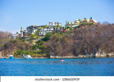 Huatulco, Mexico, 03/06/2016, Coast. Huatulco Bay is a picturesque area with amazing mountains, slopes, valleys and abundant vegetation, magnificent beaches.