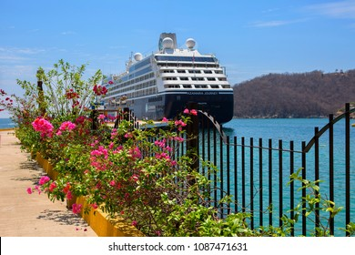 Huatulco, Mexico, 03/06/2016, Cruise ship at the pier. Huatulco Bay is a picturesque area with amazing mountains, slopes, valleys and abundant vegetation, magnificent beaches.