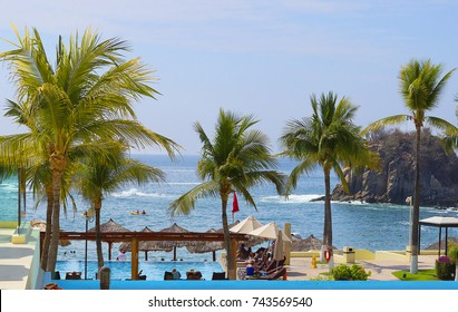 Huatulco, Mexico, 2016:03:06, The Beaches Of Huatulco.  Huatulco is a picturesque Paradise with amazing mountains, slopes, valleys and luxuriant vegetation, beautiful beaches.