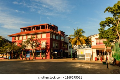 Huatulco, Mexico - 2018 Downtown square in Huatulco, Mexico. Nobody on the street.