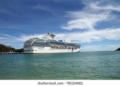 HUATULCO, MEXICO - DEC 11, 2017 - Cruise ship visits the port of Huatulco, Mexico