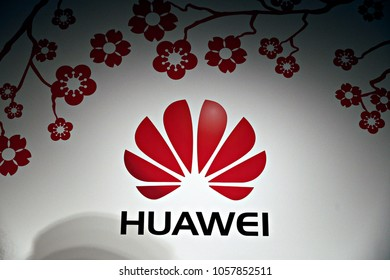 Huawei logo seen in the Huawei  Spring reception in Brussels, Belgium on 9 Feb. 2017