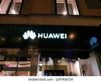Huawei shop, logo. Vienna 22/11/2018