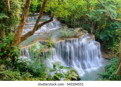 HUAY MAE KAMIN, Beautiful Waterfall in tropical forest of Thailand