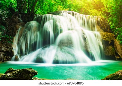 Huay Mae Kamin beautiful waterfall  in Khuean Srinagarindra National Park, Kanchanaburi Province of Thailand