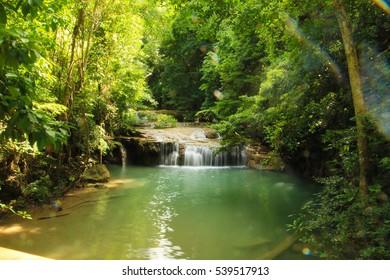 """Huay Mae Kamin""  National Park Wonderful Waterfall in Kanchanaburi thailand"