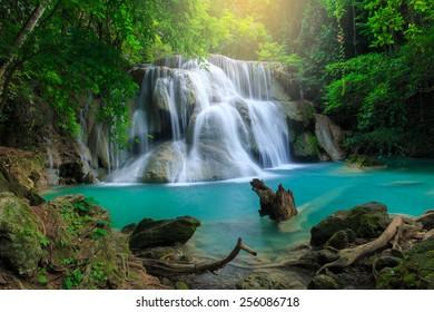 Huay Mae Kamin Waterfall, beautiful waterfall in deep forest, Kanchanaburi province, Thailand