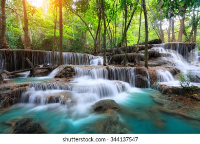 Huay Mae Kamin Waterfall, beautiful waterfall in rainforest, Kanchanaburi province, Thailand
