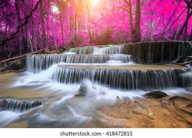 Huay Mae Kamin Waterfall, beautiful waterfall in rainforest, Kanchanaburi province, Thailand