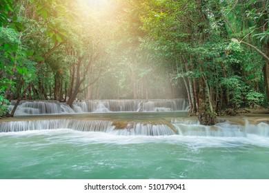 Huay Mae Kamin Waterfall, beautiful waterfall in rainforest at Kanchanaburi province, Thailand.