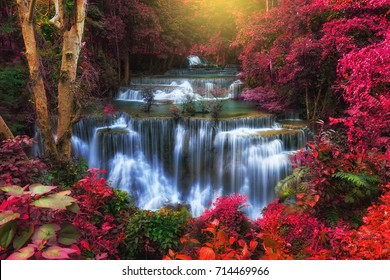 Huay Mae Kamin Waterfall, Beautiful landscape waterfall in autuam rainforest at Kanchanaburi province, Thailand