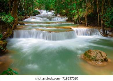 Huay Mae Kamin Waterfall, beautiful waterfall in rainforest at Kanchanaburi, Thailand.