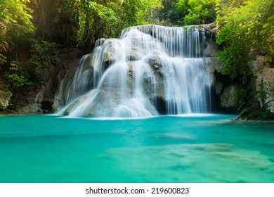 Huay Mae Kamin Waterfall, deep forest waterfall in Kanchanaburi, Thailand.