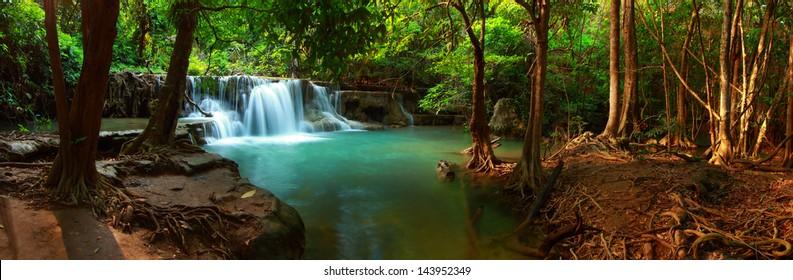 Huay mae kamin waterfall in Kanchanaburi, Thailand, Panorama