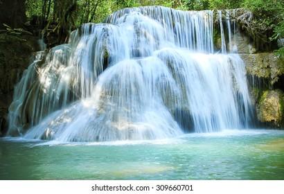 Huay Mae Kamin Waterfall  Kanchanaburi Province. Thailand