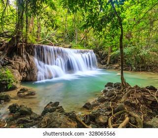 Huay Mae Kamin Waterfall in kanchanaburi of Thailand