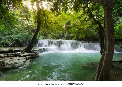 Huay Mae Kamin Waterfall in Kanchanaburi province, Waterfall in west of Thailand July-October tourist season.