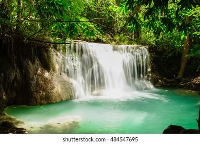 Huay Mae Kamin Waterfall in Khuean Srinagarindra National Park, Kanchanaburi Province