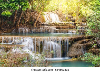 Huay Mae Kamin waterfall in Khuean Srinagarindra National Park, Kanchanaburi Province, western of Thailand