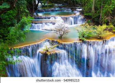 Huay mae kha min waterfalls in national park of Thailand.