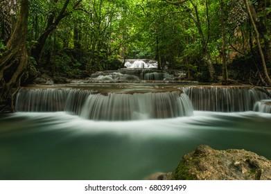 Huay Mae Khamin, Beautiful Waterfall in Thailand.
