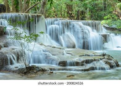 Huay Mae Khamin, Paradise Waterfall located in deep forest of Thailand. Huay Mae Khamin - Waterfall is so beautiful of waterfall in Thailand, Huay Mae Khamin National Park, Kanchanaburi, Thailand.
