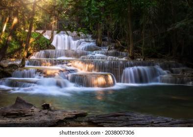 Huay Mae Khamin Waterfall Is So Beautiful In Thailand It Is Huay Mae Khamin National Park, Kanchanaburi Province, Thailand
