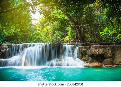 Huay Mae Khamin waterfall with day noon light in tropical forest, Thailand