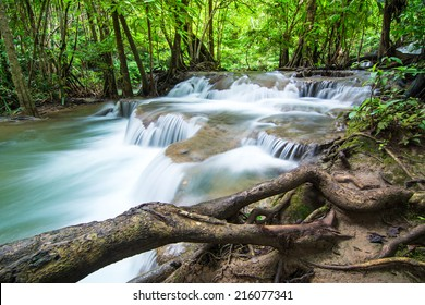 Huay Mae Khamin waterfall in deep forest, Thailand