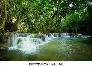Huay Mae khamin waterfall Landscape of tropical forest in kanchanaburi thailand