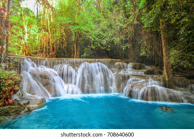Huay Mae Khamin waterfall in tropical forest of national park, Thailand;