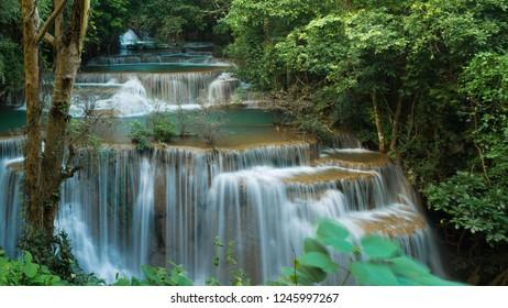 Huay Mae Khamin waterfalls in deep forest at Srinakarin National Park ,Kanchanaburi ,A beautiful stream water famous rain forest waterfall in Thailand