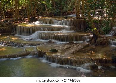 Huay Mae Khamin Waterfalls in a National Park of Kanchanaburi, Thailand