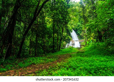 Huay saai leung fall -waterfall in rainforest at Doi Inthanon National park in Chiang Mai Thailand
