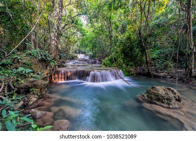 Huaymaekamin Waterfall (level 1) in the deep forest Kanchanaburi, Thailand