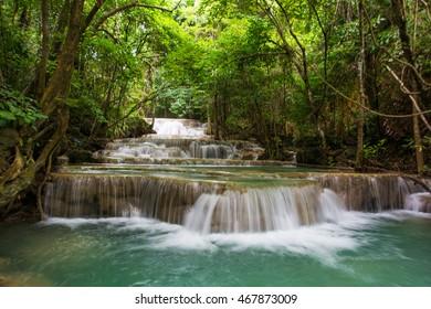 huaymaekamin waterfall nature in Srinakarin Dam Kanchanaburi Thailand