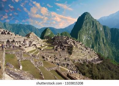 Huayna Picchu mountain overlooking  Inca ruins  Machu Picchu, Peru, South America