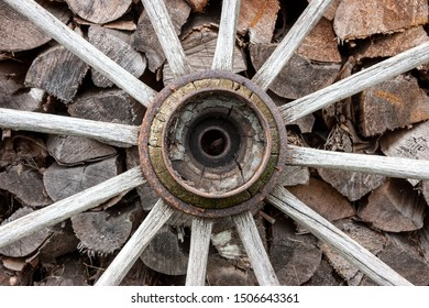 Hub and spokes of a wooden cartwheel in front of a woodpile. Today there are only a few specialists who have the knowledge to manufacture a wooden cartwheel.