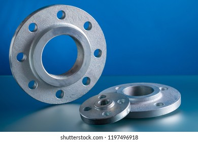 Hubbed threaded flanges, set of steel welding fittings.