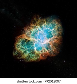 Hubble image of the Crab Nebula. Elements of this image furnished by NASA.