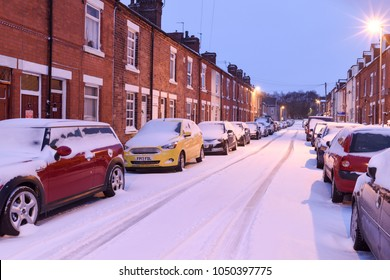 Hucknall and Linby,Nottinghamshire,UK:March 18th 2018 :Beast from the east part two,overnight snow and sub-zero temperatures have hit many parts of the East Midlands,Hucknall town snow covered.