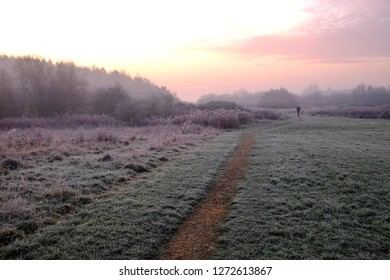Hucknall,Nottinghamshire,UK. Overnight Winters frost creates  a beautiful sunrise across open moorland near the English market town of Hucknall in the county of Nottinghamshire.