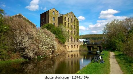 Huddersfield, England, April 27, 2015: Huddersfield narrow canal