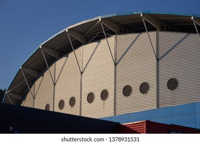 Huddersfield, UK - April 12 2019:  North Stand at Kirklees Stadium, home to Huddersfield Town soccer team and Huddersfield Giants rugby team