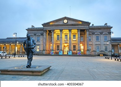 HUDDERSFIELD, UK - APRIL 14, 2016: Huddersfield train station. Huddersfield  is a large market town and the largest settlement in the metropolitan borough of Kirklees, West Yorkshire,