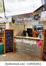 HUDDERSFIELD, UK - AUGUST 1, 2018: Stall at the Huddersfield Food and Drink Festival in the centre of Huddersfield, West Yorkshire, UK
