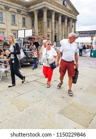 HUDDERSFIELD, UK - AUGUST 1, 2018: Unknown people at the Huddersfield Food and Drink Festival in the centre of Huddersfield, West Yorkshire, UK