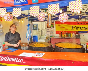 HUDDERSFIELD, UK - AUGUST 1, 2018: A stall at the Huddersfield Food and Drink Festival in the centre of Huddersfield, West Yorkshire, UK